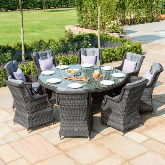Maze Victoria Grey Rattan 8 Seat Round, Round Dining Room Table For 8